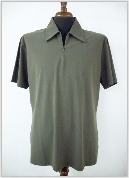 Baroni art. 6315 col. verde militare - Polo Zip mezza manica, lycra sensitive
