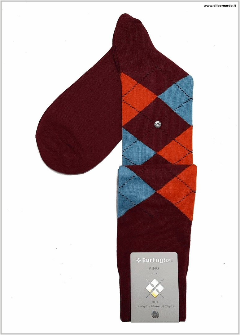 Burlington art. 21720 col. 8372 - Calza lunga UOMO in fantasia a rombi multicolor, misto cotone