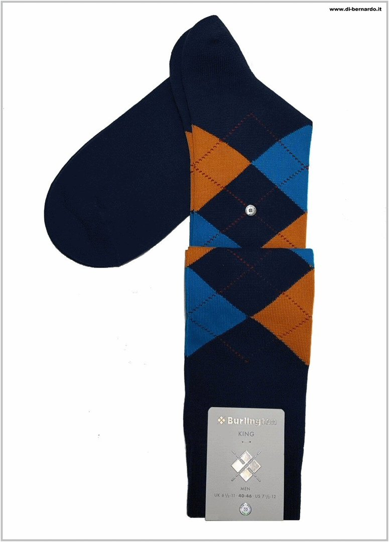 Burlington art. 21720 col. 6577 - Calza lunga UOMO in fantasia a rombi multicolor, misto cotone